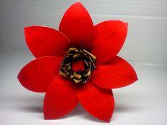 Duct Tape Flower Pen - Red/Leopard