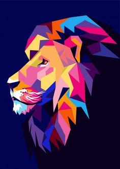 Colorful Lion Head Pop Art detailed, premium quality, magnet mounted prints on metal designed by talented artists. Illustration Pop Art, Arte Fashion, Geometric Lion, Lion Painting, Polygon Art, Pop Art Posters, Poster Prints, Lion Art, Bedroom Art