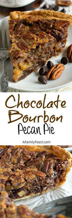 Chocolate Bourbon Pecan Pie - A classic dessert but kicked up a notch by adding chocolate chips and bourbon to the pecan pie filling. Use cocoa sugar free chocolate chips for the perfect balance to the sweetness of the corn syrup. Desserts Nutella, Just Desserts, Delicious Desserts, Yummy Food, Dessert Healthy, Strawberry Desserts, Chocolate Desserts, Pie Recipes, Dessert Recipes