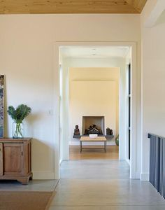 Benjamin Moore White Chocolate and Overcast in next room