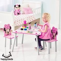 Minnie Mouse Table and Chairs Disney Themed Bedrooms, Bedroom Themes, Desk And Chair Set, Kids Table And Chairs, Wooden Childrens Table, Kids Plastic Chairs, Minnie Mouse Table, Kids Furniture Sets, Kids Sofa
