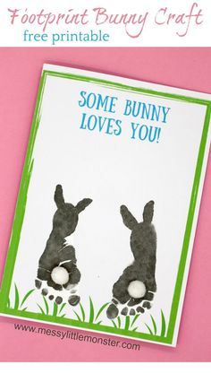 Some bunny loves you! Make a footprint bunny craft with your baby or toddler using our free printable keepsake card. Great for Mother's Day, Father's Day, Valentine's day or Easter. crafts for toddlers Footprint Bunny Craft - FREE printable keepsake card Daycare Crafts, Preschool Crafts, Daycare Ideas, Easter Crafts For Toddlers, Easter For Babies, Fathers Day Kids Crafts, Toddler Crafts Valentines Day, Baby Fathers Day Gift, Baby Gifts