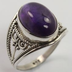 Handcrafted Purple Ring Size US 7 Natural AMETHYST Gemstone 925 Sterling Silver #SunriseJewellers #Fashion
