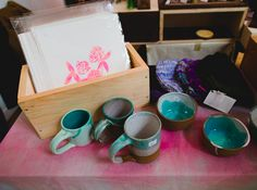 A hand dyed, or personalized table cloth is a nice touch. We always recommend straying away from black whenever possible! #RenegadeCraftFair #RenegadeNY
