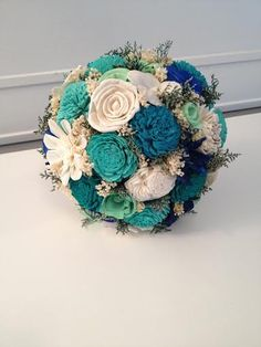 Teal Aqua and mint Wedding Bouquet made with sola by SylCadle