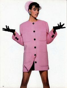 1990 Vogue Italia ''Candy Colors''.Model Linda Evangelista. Photographer Patrick Demarchelier. Versace