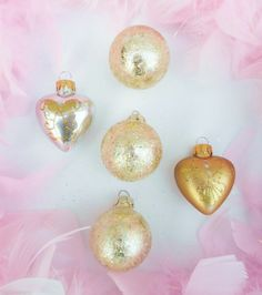 Set/5 Gold/Silver Vintage Style Hearts/Balls Glass Ornaments Valentines Day Tree