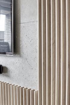 Redchurch Loft Apartment / Studio Verve Architects Wood Slat Wall, Wooden Slats, Timber Slats, Concrete Wall, Wood Wall Paneling, Panelling, Acoustic Wall, Acoustic Panels, Interior Walls