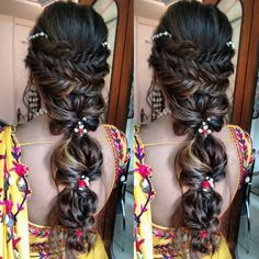 Pretty Braided Hairdo Inspiration for Wedding Ceremonies by Real Brides Bridal Hairstyles With Braids, Bridal Braids, Bridal Hairdo, Indian Bridal Hairstyles, Bridal Hair And Makeup, Bride Hairstyles, Hairstyle Ideas, Traditional Hairstyle, Hair Upstyles