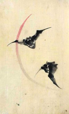 Framed Print - Vintage Asian Japanese Chinese Bats (Picture Poster Animal Art)