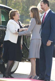 Los Reyes reciben a la Presidenta de Chile en la primera visita de Estado del reinado de Felipe VI #realeza #royalty