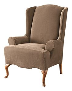 Sure Fit Stretch Pique  Wing Chair Slipcover   Taupe (SF37311) For Sale https://reclinersforsmallspaces.info/sure-fit-stretch-pique-wing-chair-slipcover-taupe-sf37311-for-sale/