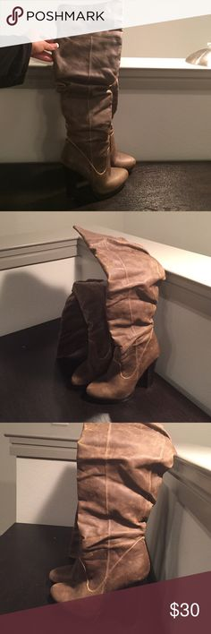 Jessica Simpson over the knee boots Light brown leather knee high boots, distressed look. Has inside zippers. Heel height: 5 in with 1 in platform. Worn maybe 10x. Jessica Simpson Shoes Ankle Boots & Booties