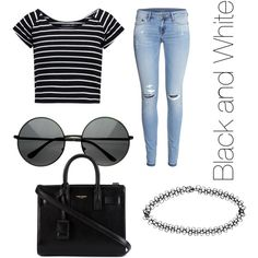 Black and White Style by mayizquierdo13 on Polyvore featuring polyvore fashion style even&odd H&M Yves Saint Laurent Boohoo