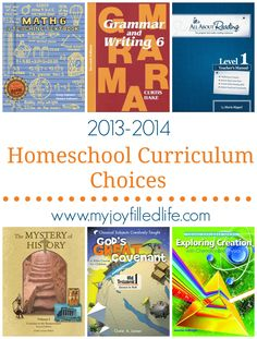 2013-2014 Homeschool Curriculum Choices
