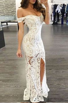 Sexy Prom Dress,Lace Sheath Prom Dresses,Off-the-Shoulder Prom Gown,Long Formal Dress,Lace Evening Dress with Split,Prom Dress 2017,Charming Evening Dress,N105