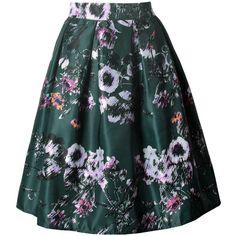 Inverted Pleat Vintage Printed Flared Midi Skirt (87 PEN) ❤ liked on Polyvore featuring skirts, knee high skirts, flare skirt, mid-calf skirt, vintage print skirt and green midi skirt