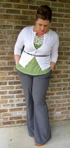 Love the cardigan with the belt.  Very nice outfit for work.