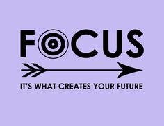 "Inspirational Print, Motivational Writing Poster, Purple Violet Arrow Typography, ""Focus. It's What Creates Your Future"" Classroom Decor by WordsGloriousWords on Etsy"
