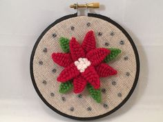 Christmas Embroidery Hoop Art Embroidered Poinsettia Flower Holiday Embroidery