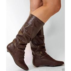 LADIES FLAT KNEE BOOTS BROWN CALF SLOUCH BOOTS