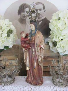 FRENCH SHABBY CHIC Santos Madonna Statue Maria Jesus Heiligenfigur Virge Statue