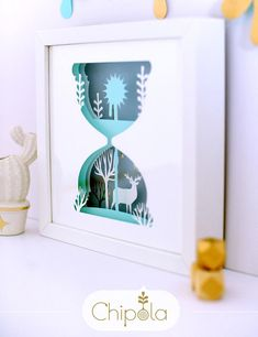 Office decor Reindeer hourglass Paper Art Unique Christmas gift 3d picture DIY shadow box framed wall art home decor