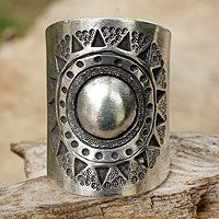 Sterling silver wrap ring, 'Hill Tribe Sun'