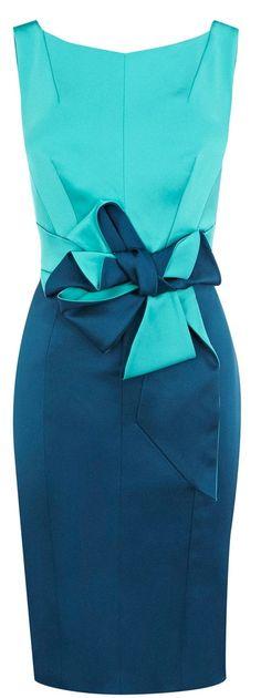 Karen Millen Colourblocked Stretch Satin Dress