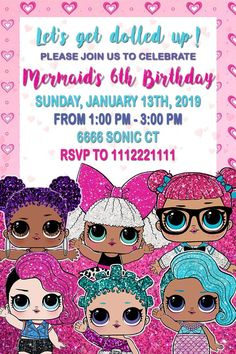 Birthday invitations with the LoL doll theme Printable LoL doll invitation and customizable LoL doll invitation Please read our terms and conditions before making purchases and If you have any questions please do not hesitate to contact us 6th Birthday Girls, 7th Birthday Party Ideas, Surprise Birthday Invitations, Party Invitations Kids, Birthday Invitation Templates, Digital Invitations, Surprise Party Decorations, Kids Background, Doll Party