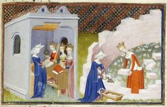 Detail of a miniature of Christine de Pizan before the personifications of Rectitude, Reason, and Justice in her study, and helping another lady to build the 'Cité des dames', Harley MS 4431 , f. - See more at: http://britishlibrary.typepad.co.uk/digitisedmanuscripts/#sthash.VaJr2yVA.dpuf
