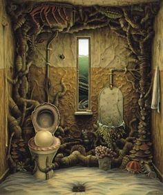 Alternate view of the bathroom, without the t-rex.