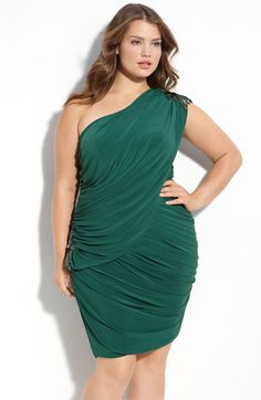 not sure if i can pull off the one shoulder thing, but really like this green dress