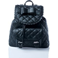 Sugarbaby Kawaii Noir Backpack ($38) ❤ liked on Polyvore featuring bags, backpacks, bow backpack, blue drawstring backpack, faux leather backpack, vegan bags and vegan backpack