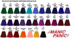 Manic Panic Color Chart, Manic Panic Colors, Manic Panic Hair Color, Hair Dye Colors, Hair Colour, Bad Boys Blue, Hair Color Formulas, Hair Jewelry, Jewellery