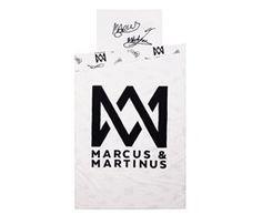 140x200/50x70 cm sengesett Hvit/svart Bomull Marcus & Martinus