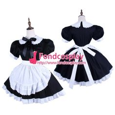 Black-White Lockable Sissy Maid Dress Uniform Cosplay Costume Tailor-Made[G1571]