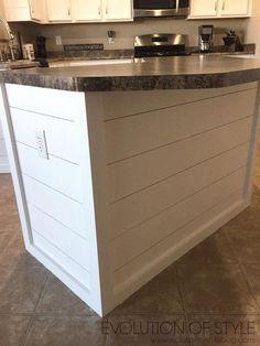 Evolution of Style - Complete Kitchen Refresh Shiplap Island remodel with island Kitchen Decor, Kitchen Design, Kitchen Ideas, Kitchen Furniture, Kitchen Paint, Wood Furniture, Loft, New Kitchen Cabinets, Kitchen Countertops