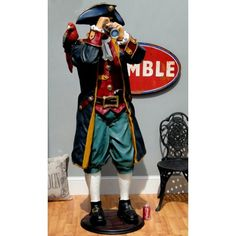 6' Life Size Pirate Caribbean Statue Captain w Telescope Paruche French