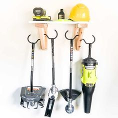 Want to get that leaf blower and string trimmer off the garage floor and out of your way? This easy-to-make garden tool storage rack has room to hang all your power garden tools, with a shelf above to hold battery chargers and extra string reels! Get the tutorial and get building!