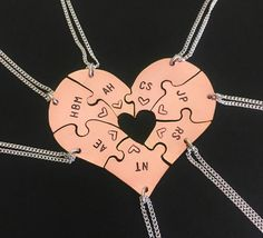 14 Karat Rose Gold engraved heart puzzle necklaces, shaped like a heart - perfect for 7, friendship, family, BFF seven puzzles, wedding by InspiredByBronx on Etsy https://www.etsy.com/listing/510953515/14-karat-rose-gold-engraved-heart-puzzle