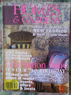 British Homes and Gardens Vintage Magazine November 1994 75th Birthday Issue Decorating Fabric