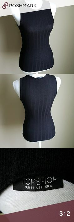 """Topshop Black Sleeveless Top Black ribbed sleeveless top. NWOT. NEVER WORN!! NEVER WASHED!! PERFECT CONDITION! Shoulder to waist 23"""" Waist 19"""" Bust 32"""" Topshop Tops"""