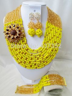 Glamorous Champagne Gold Opaque Yellow Crystal Costume Necklaces Nigerian Wedding African Beads Jewelry Sets NC673 $58.88