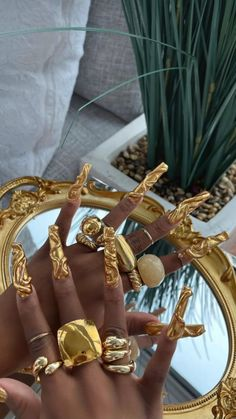 Exotic Nails, Luxury Nails, Fire Nails, Best Acrylic Nails, Dream Nails, Gold Nails, Gorgeous Nails, Nail Inspo, Swag Nails