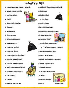 "A Lent ""fast"" we all can live better with: 40 Bags in 40 Days. Get rid of 40 bags of clutter during the 40 days of Lent. This is a list of the area to unclutter each day. I'm in!!"