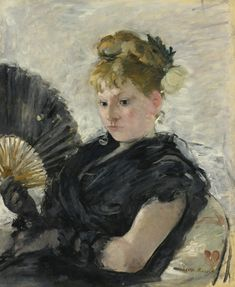 Femme A Leventail: 1876 by Berthe Morisot (Sold at Auction, Sotheby's, May, 2013 $4,365,000.00) - Impressionism