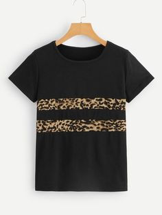 SHEIN offers Contrast Leopard Print Tee & more to fit your fashionable needs. Blouse Styles, Blouse Designs, Dressy Casual Outfits, Sewing Blouses, Printed Tees, Clothing Patterns, Diy Clothes, Cool T Shirts, Fashion Outfits