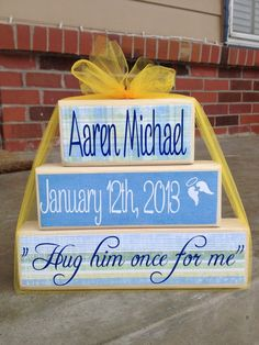 3 tier pyramid to honor your loved one. I can put anything on the block you wish. This block showcases the baby's first and middle name, his angel date and a line from the song his parents chose for his service.   Wording and papers are your choice!