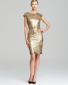Sue Wong Printed Sequin Sheath Dress - Cap Sleeve  Bloomingdale's